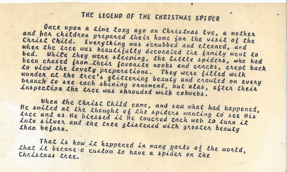 christmas spider in the mid 1970s - The Christmas Spider